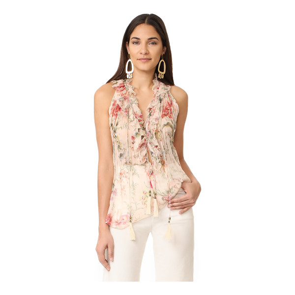 ZIMMERMANN mercer cream floral blouse - NOTE: Zimmermann uses special sizing. A lavish floral...