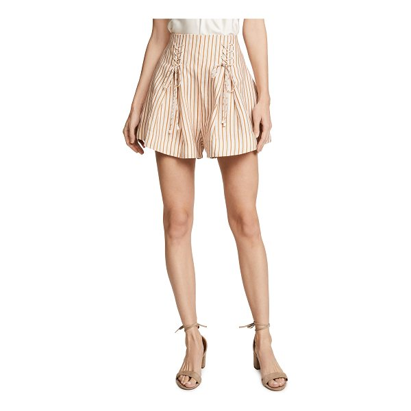 ZIMMERMANN painted heart lace up striped linen shorts - Lace-up ties cinch the high waist on these striped...
