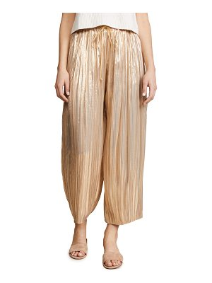Adam Lippes pleated lame ankle pants with drawstring waist