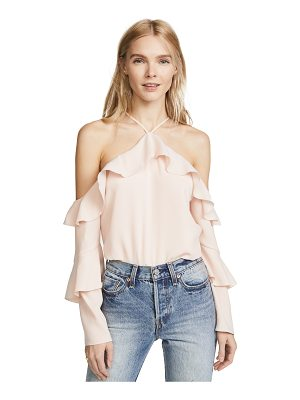 COOPER & ELLA Ruffle Cold Shoulder Blouse