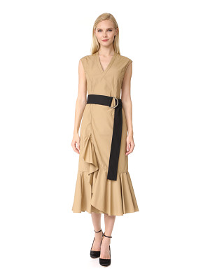 DEREK LAM 10 CROSBY sleeveless ruffle hem dress