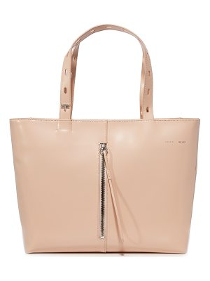 Kara polished panel small zip top tote