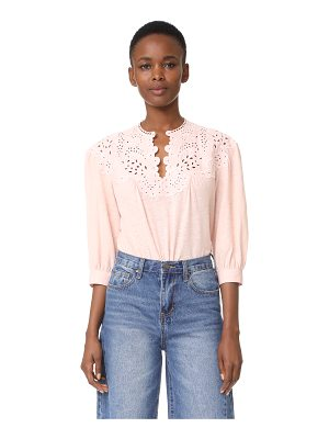 La Vie by Rebecca Taylor long sleeve textured eyelet blouse