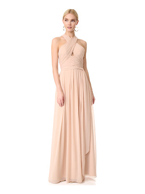MONIQUE LHUILLIER BRIDESMAIDS Halter Gown With Cutout