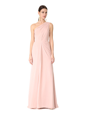 MONIQUE LHUILLIER BRIDESMAIDS One Shoulder Drape Gown