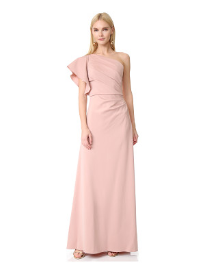 MONIQUE LHUILLIER BRIDESMAIDS One Shoulder Gown