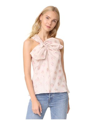 REBECCA TAYLOR Floral Jacquard Bow Top