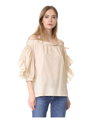 Robert Rodriguez striped ruffle short sleeve top