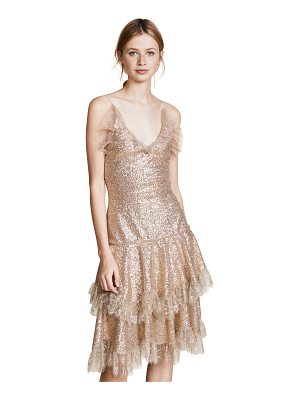 RODARTE Metallic Sequin Tiered Dress