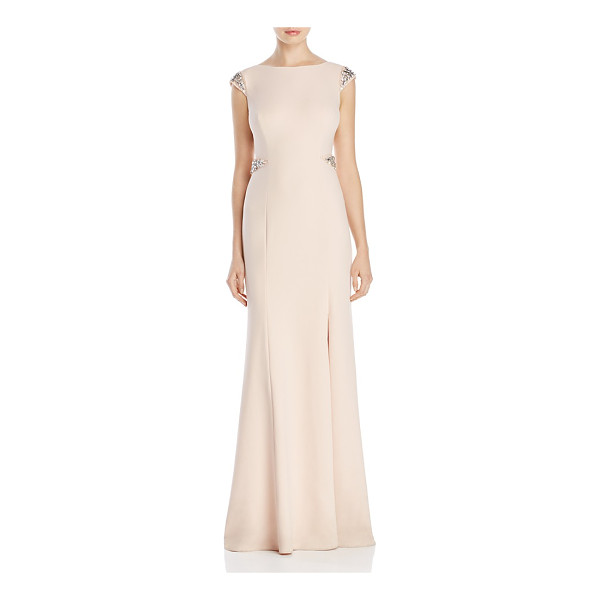 ADRIANNA PAPELL Beaded Cap Sleeve Gown - Adrianna Papell Beaded Cap Sleeve Gown-Women