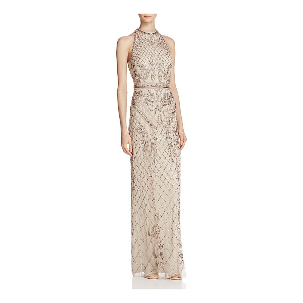 ADRIANNA PAPELL Beaded Mock-Neck Gown - Adrianna Papell Beaded Mock-Neck Gown-Women