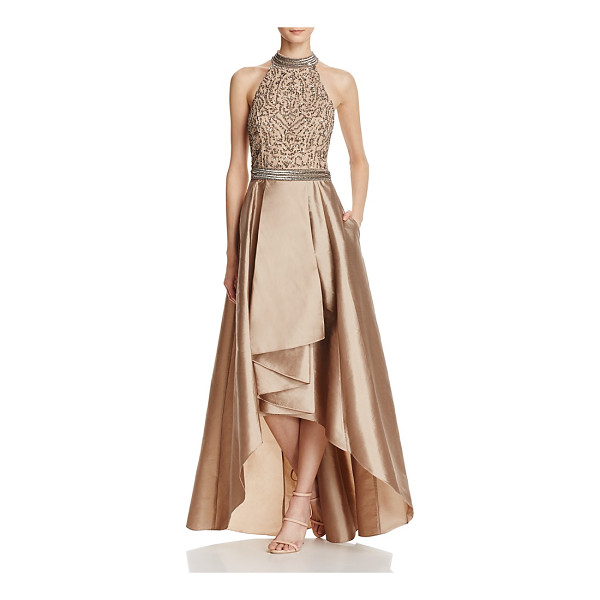 ADRIANNA PAPELL Beaded T-Back Gown - Adrianna Papell Beaded T-Back Gown-Women