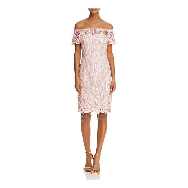 ADRIANNA PAPELL Off-the-Shoulder Lace Dress - Adrianna Papell Off-the-Shoulder Lace Dress-Women