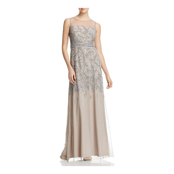 ADRIANNA PAPELL Sleeveless Beaded Gown - Adrianna Papell Sleeveless Beaded Gown-Women