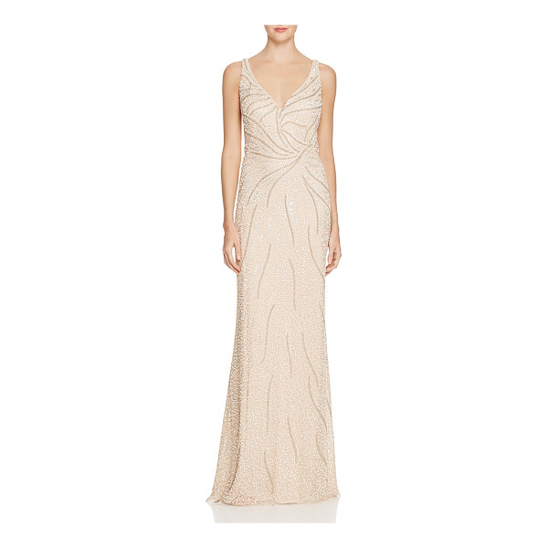 AIDAN MATTOX Embellished Mesh Illusion Gown - Aidan Mattox Embellished Mesh Illusion Gown-Women