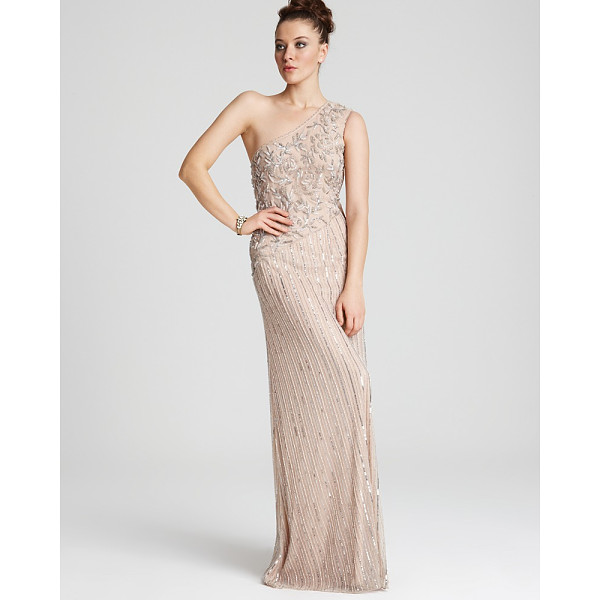 AIDAN MATTOX One-Shoulder Long Beaded Gown - Aidan Mattox One-Shoulder Long Beaded...