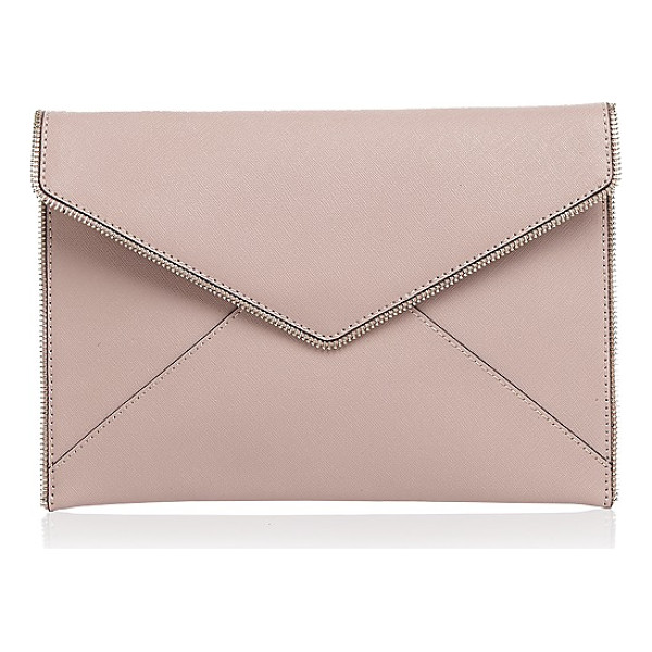 REBECCA MINKOFF Leo Saffiano Leather Clutch - Rebecca Minkoff Leo Saffiano Leather Clutch-Handbags