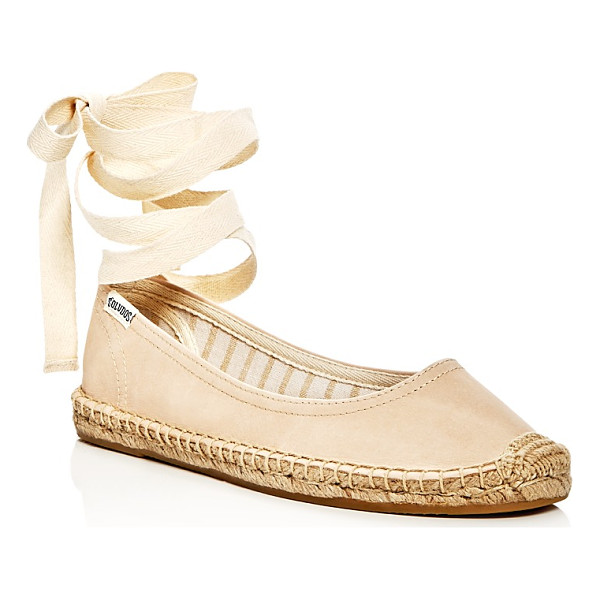 SOLUDOS Leather Lace Up Espadrille Ballet Flats - Soludos Leather Lace Up Espadrille Ballet Flats-Shoes