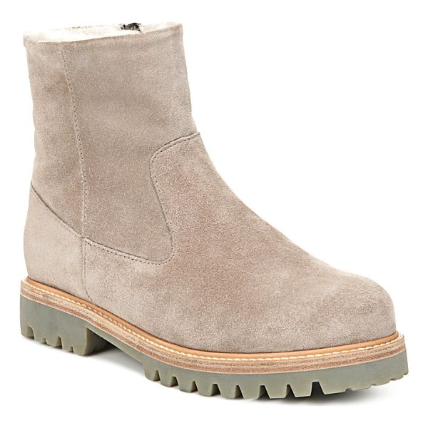 VINCE Women's Frances Suede and Shearling Booties - Vince Women's Frances Suede and Shearling Booties-Shoes
