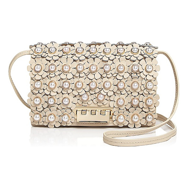 ZAC ZAC POSEN Earthette Faux-Pearl Floral Leather Crossbody - Zac Zac Posen Earthette Faux-Pearl Floral Leather...