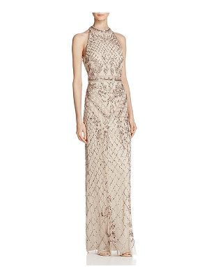 Adrianna Papell Beaded Mock-Neck Gown