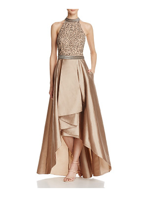 Adrianna Papell Beaded T-Back Gown
