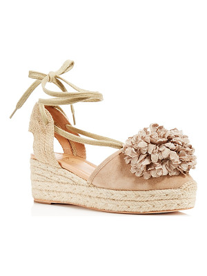 KATE SPADE NEW YORK Kate Spade New York Lafayette Pom-Pom Lace Up Platform Wedge Sandals