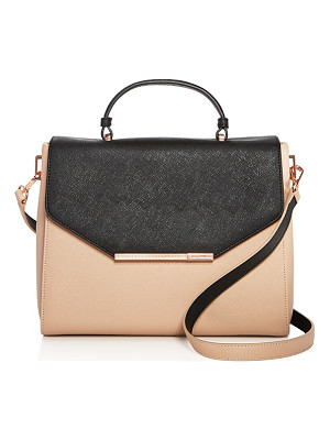 TED BAKER Textured Bar Envelope Color Block Leather Satchel