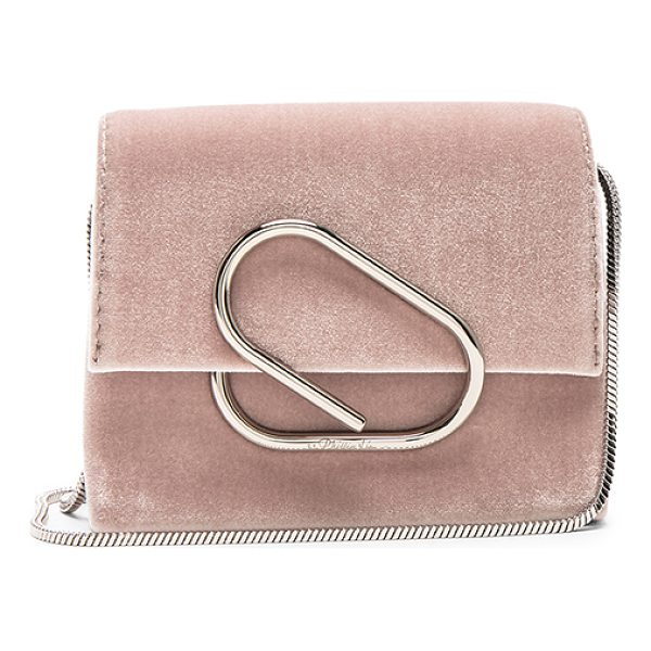 3.1 PHILLIP LIM Alix Micro Crossbody Bag - Velvet fabric with grosgrain lining and silver-tone...