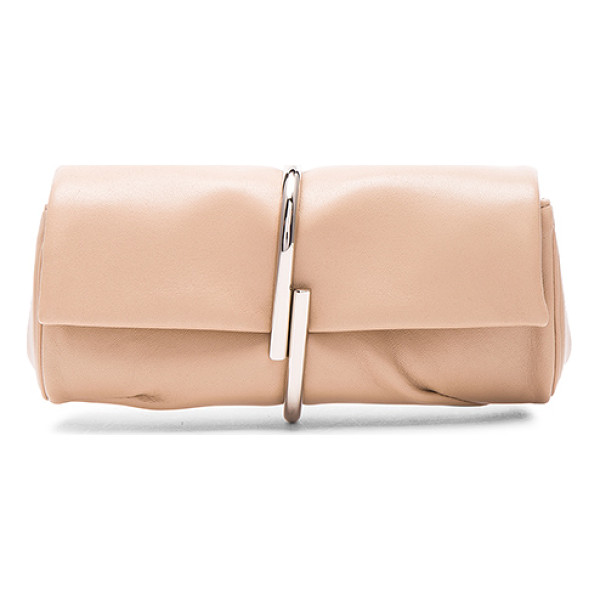 3.1 PHILLIP LIM Alix minaudiere - Genuine leather with canvas lining and silver-tone...