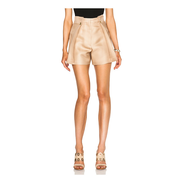 ACNE STUDIOS Marsielle high waist shorts - 61% silk 39% nylon.  Made in Italy.  Hook and bar front...