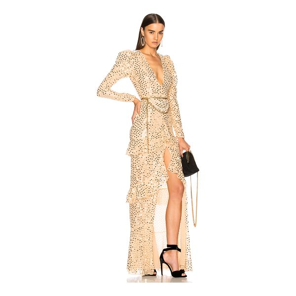 ALESSANDRA RICH Sequin Long Sleeve Gown - Self & Lining: 100% polyTrim: 100% polyamide. Made in...