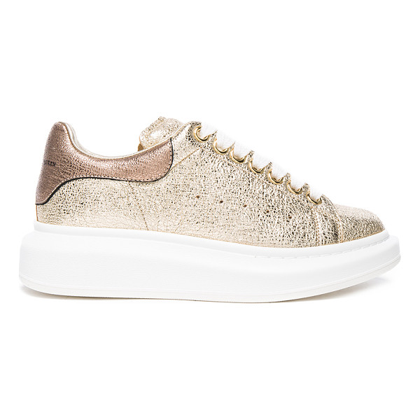ALEXANDER MCQUEEN Leather Platform Sneakers - Crinkled metallic leather upper with rubber sole. Made in...