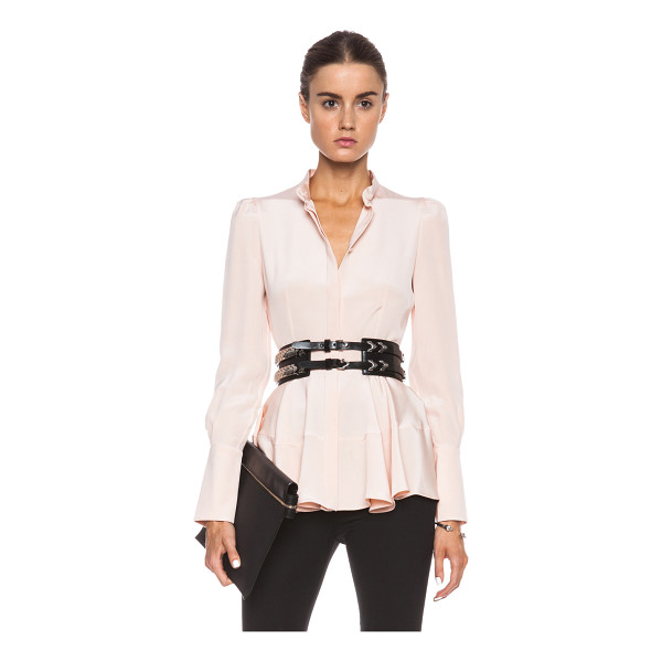ALEXANDER MCQUEEN Peplum silk top - 100% silk.  Made in Italy.  Hidden button front closures. ...