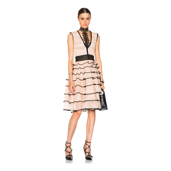 ALEXANDER MCQUEEN V neck sleeveless dress - Self: 44% silk 23% polyamide 21% metalized fiber 12%...