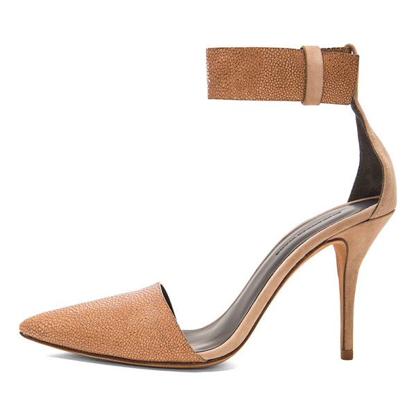 ALEXANDER WANG Lovisa suede ankle strap pumps - Suede and padded bombay embossed lambskin leather upper...