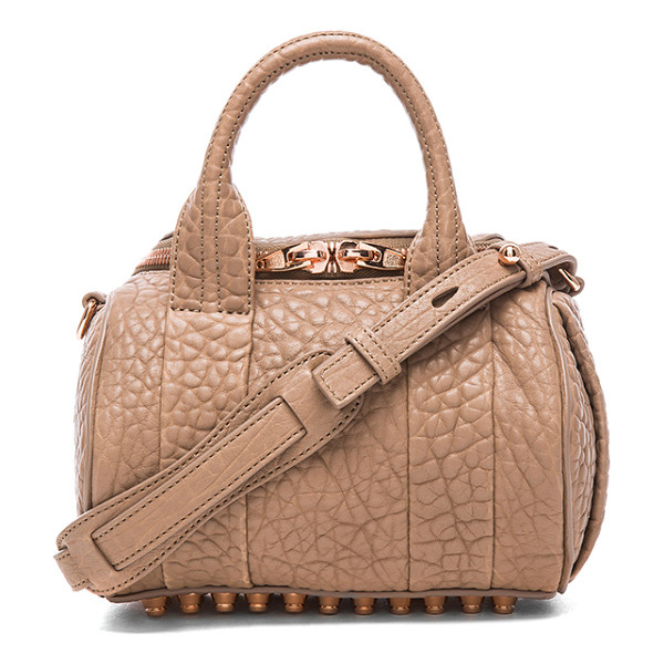 ALEXANDER WANG Mini rockie satchel with rose gold hardware - Pebbled leather with fabric lining and rose gold-tone...