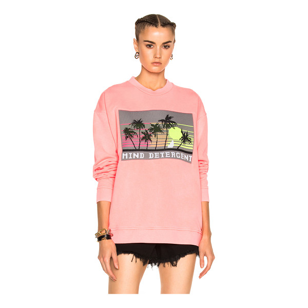 ALEXANDER WANG Oversized Sweatshirt with Knit Patch - Self & Rib: 100% cotton - Contrast Fabric: 100% poly.  Made...