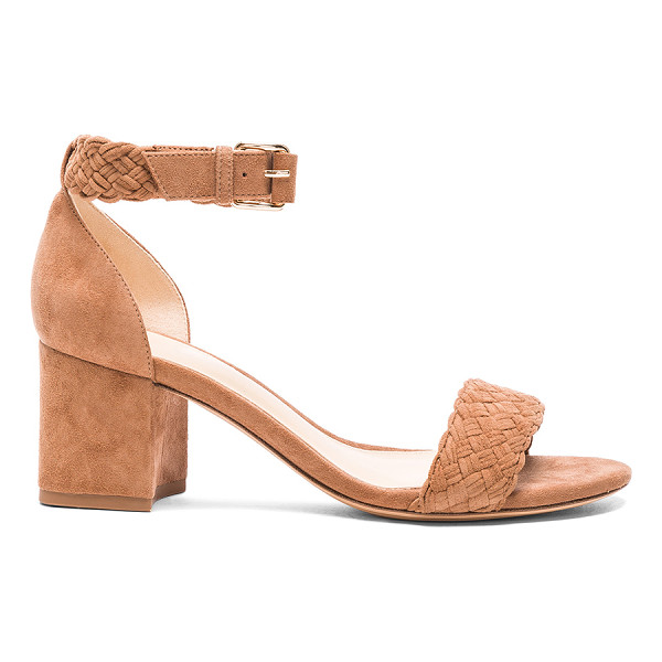 ALEXANDRE BIRMAN Suede Pauline Heel Sandals - Suede upper with leather sole.  Made in Brazil.  Approx