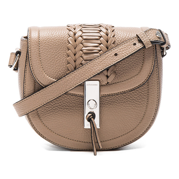 """ALTUZARRA Ghianda Saddle Mini Embroidered - """"Genuine grained leather with canvas lining and silver-tone..."""