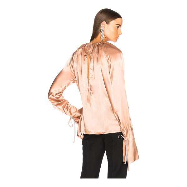 ANN DEMEULEMEESTER Blouse - 100% silk.  Made in Macedonia.  Dry clean only.  Gathered...