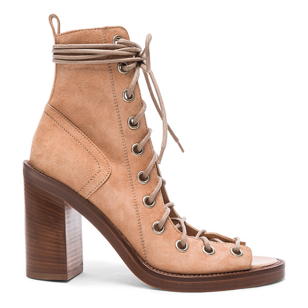 ANN DEMEULEMEESTER Suede Lace Up Heels - Suede upper with leather sole.  Made in Italy.  Approx...