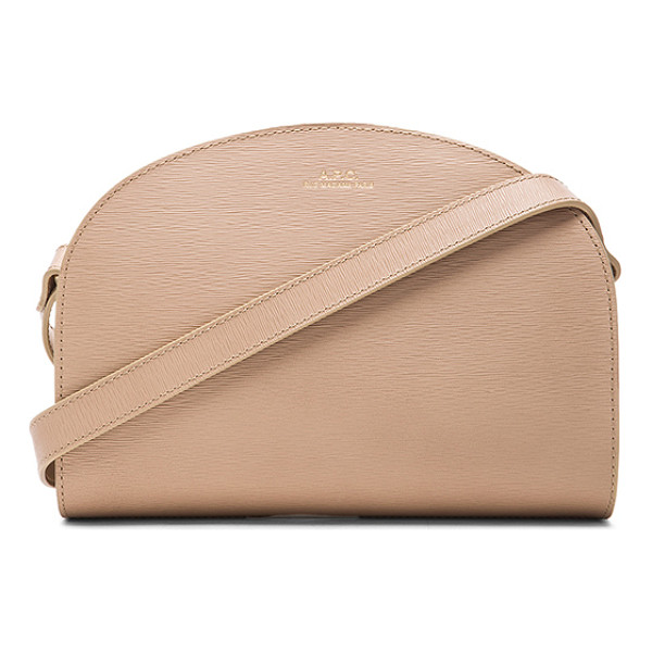 A.P.C. Half moon bag - Calfskin leather with canvas fabric lining and gold-tone...
