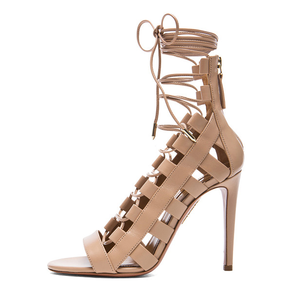 AQUAZZURA Amazon Leather Heels - Calfskin leather upper and sole. Made in Italy. Approx