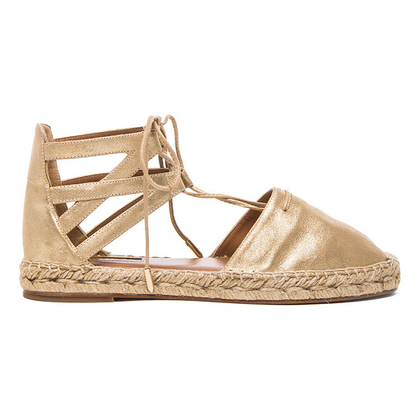 AQUAZZURA Belgravia Flat Suede Espadrilles - Metallic suede upper with leather sole.  Made in Spain. ...