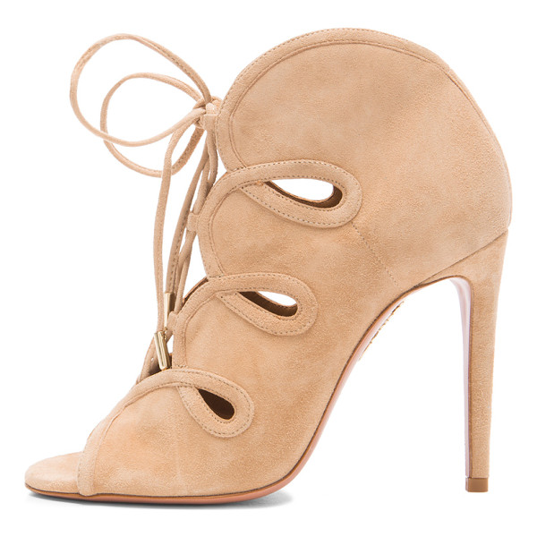 AQUAZZURA French Kiss Suede Heels - Suede upper with leather sole.  Made in Italy.  Approx...