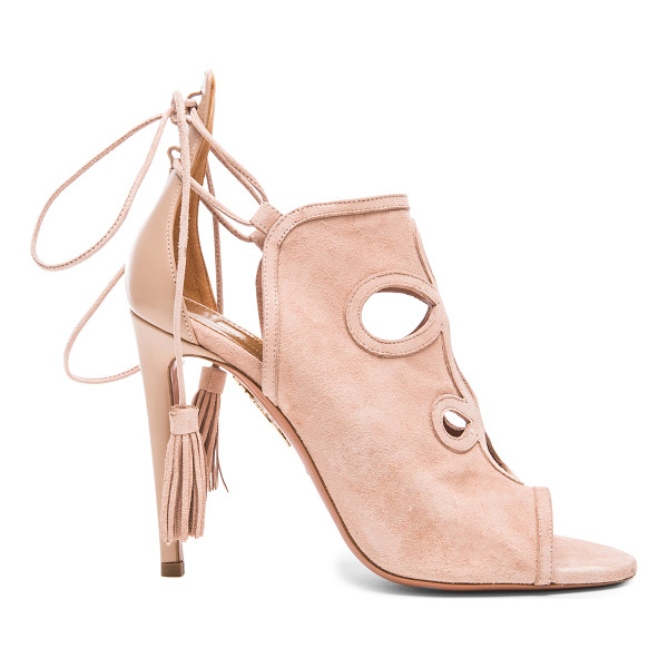 AQUAZZURA Get me everywhere suede heels - Calfskin suede upper with leather sole.  Made in Italy. ...