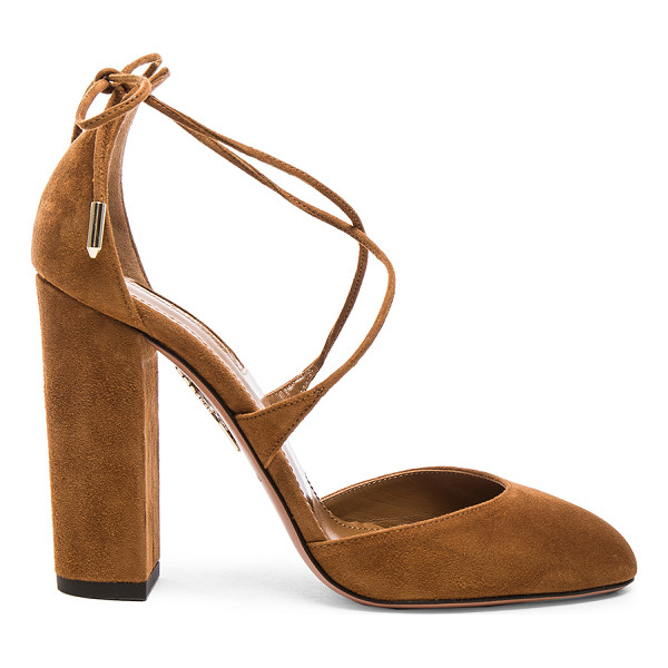 AQUAZZURA Karlie Suede Heels - Suede upper with leather sole. Made in Italy. Approx 100mm/...