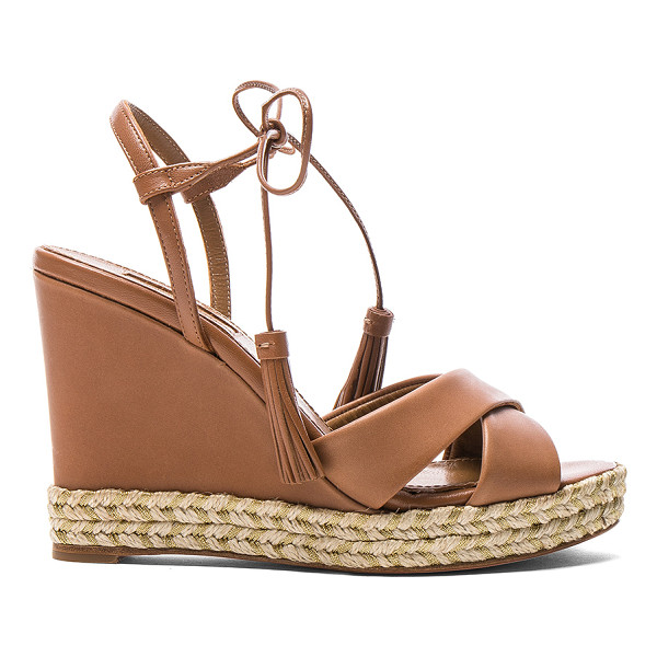 AQUAZZURA Leather Paraty Espadrille Wedges - Leather upper and sole.  Made in Spain.  Approx 13mm/ 0.75...