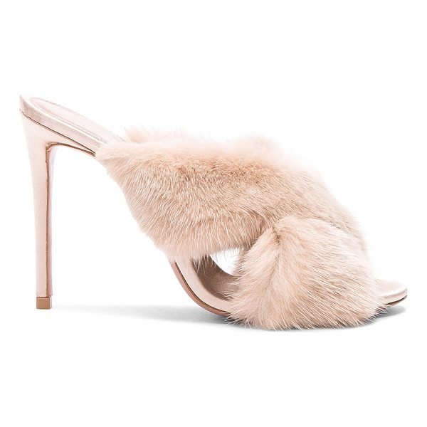 AQUAZZURA Mink Fur Purr Mules - Real dyed mink fur upper with leather sole.  Made in Italy....